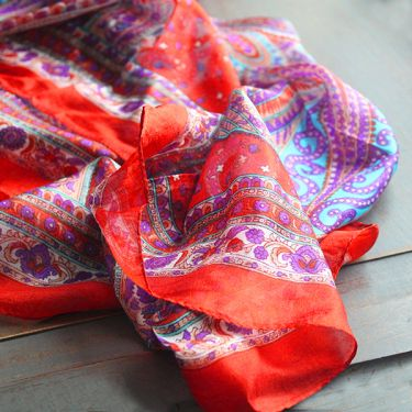 Red Scarlet Crimson Indian Silk Scarf