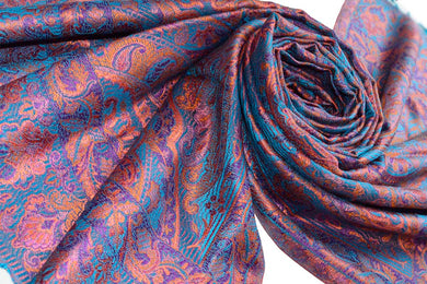 Pasmina Silk Indian Scarf Jacquard handwoven