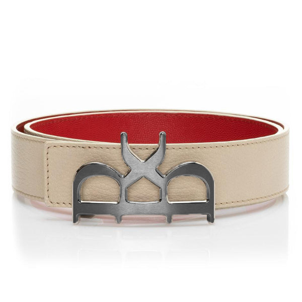 YVES Belt Men Beige Gunmetal