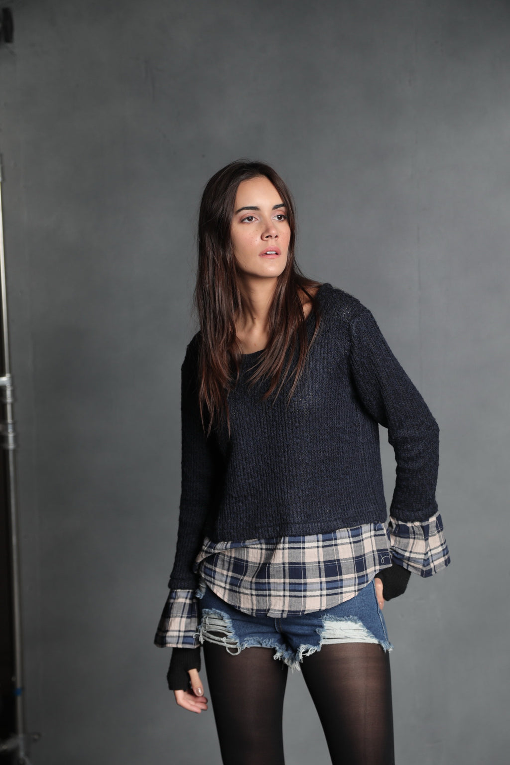 Rachel Sweater with Plaid Overlay