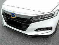 For 2018-2019 Honda Accord 3PC Style Gloss Black Front Bumper Lip Splitter Body Kit