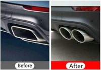 Exhaust Pipes Muffler Tail Tips For 2018 2019 Porsche Cayenne 3.0T Upgrade to Cayenne S (Silver)