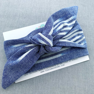 SINGLE or DOUBLE headwrap: blue & white linen