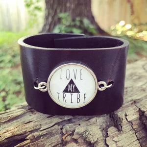 love my tribe wide leather cuff