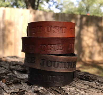 trust the journey single wrap leather cuff
