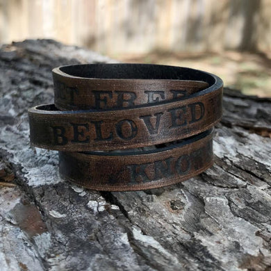 set free, beloved, known triple-wrap leather cuff