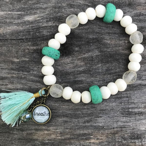 breathe African beaded bracelet: green