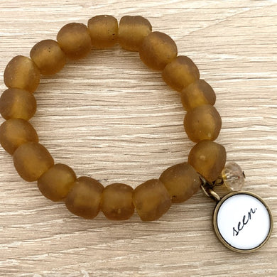 'seen' African glass bracelet: amber