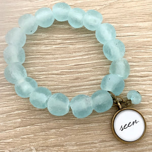 'seen' African glass bracelet: blue ice
