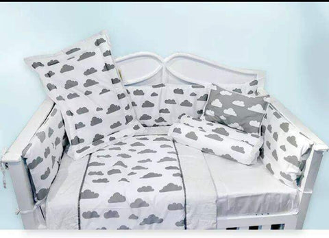 Grey Clouds Theme Cot Bedding Set