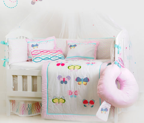 Butterfly Theme Cot Bedding Set