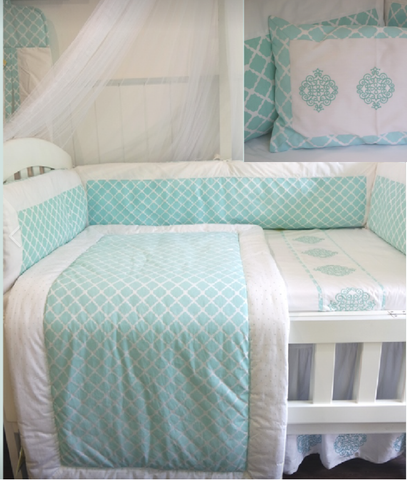 Emerald Themed Cot Bedding Set