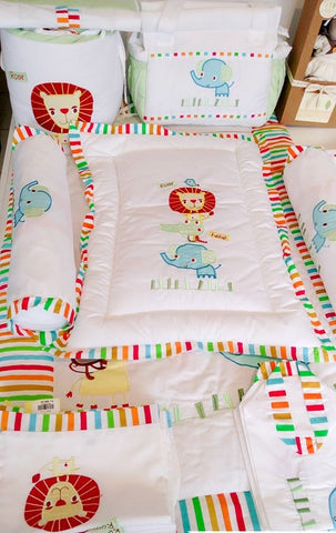 Jungle Bright Theme Cot Bedding Set