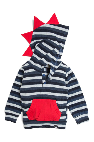 Blue & Navy Striped Long Sleeve Dino Hoodie