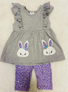 Gray & Purple Bunny Capri Set