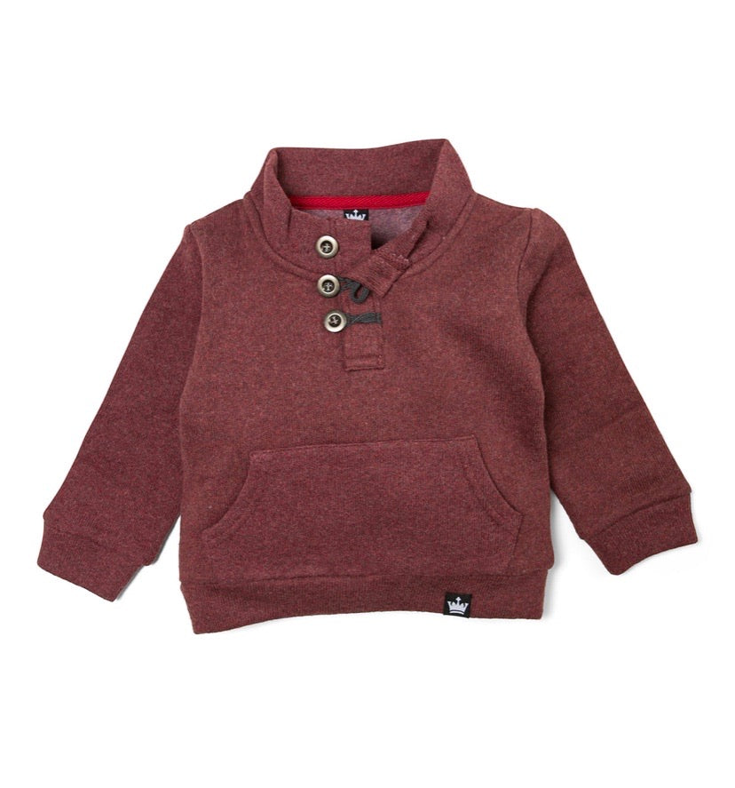 Burgundy Wine Button Neck Sweatshirt