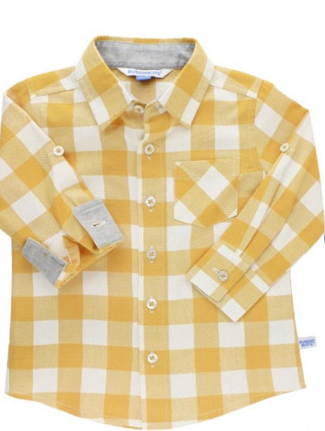 Golden Yellow Plaid Button Down Shirt