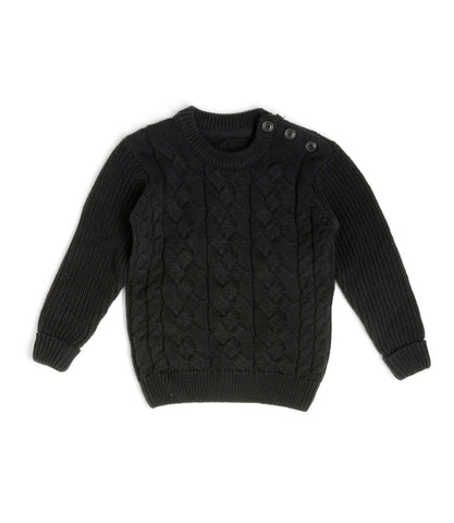 Black Button Cable Knit Sweater