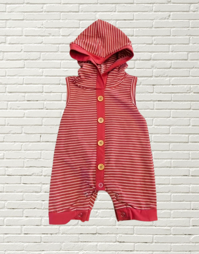 Mauve Striped Hooded Romper