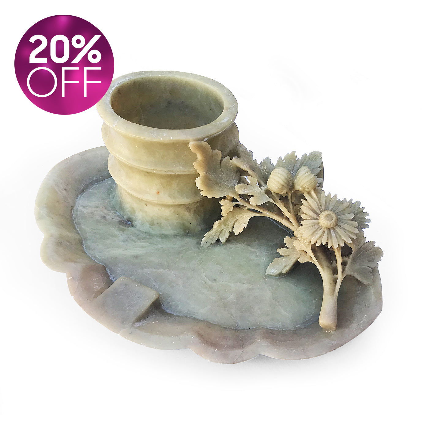 Carved Soapstone Brush Pot