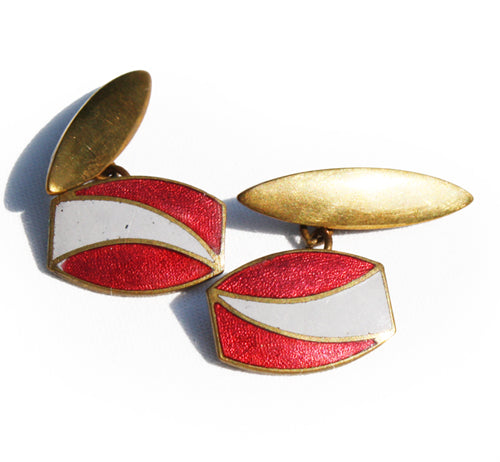 1930′s Red & Grey Enamel Cufflinks. Find this and other Smart Vintage items at Intovintage.co.uk.