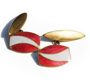 1930′s Red & Grey Enamel Cufflinks