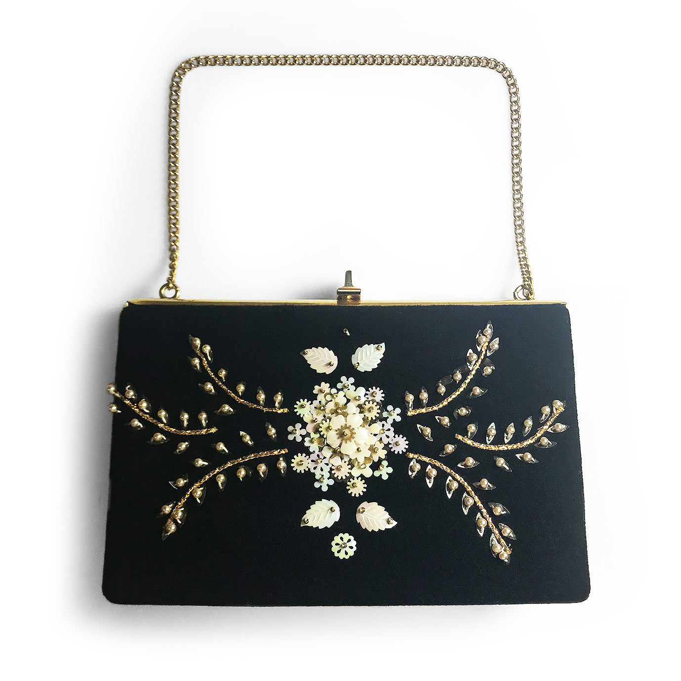 60′s Sequinned & Beaded Black Evening Bag