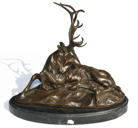 Antique Bronze Stag by Milo. Find this and other Beautiful Vintage items for you home at Intovintage.co.uk