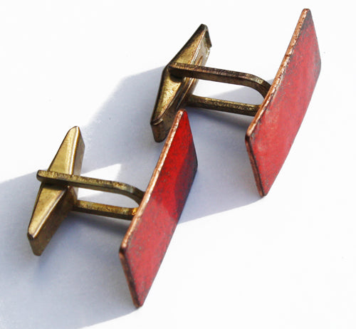 Vintage Copper Enamel Cufflinks. Find this and other Smart Vintage items at Intovintage.co.uk.
