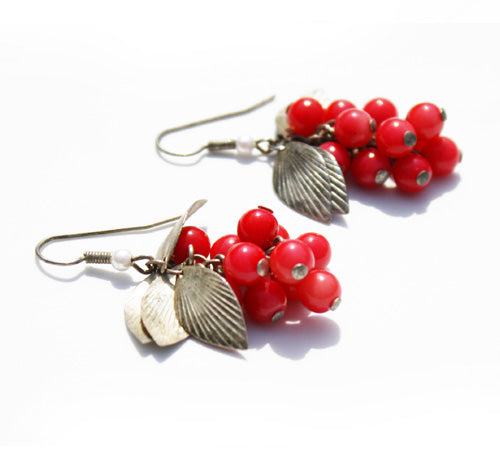 Red Bead & Silver Berry Earrings