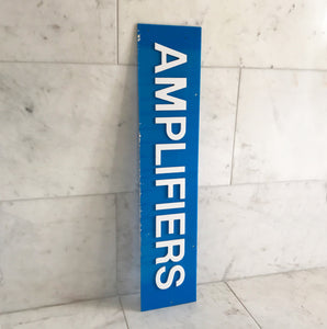 Vintage Shop Amplifiers sign with cut white perspex lettering on to a cyan blue perspex background - SHOP NOW - www.intovintage.co.uk