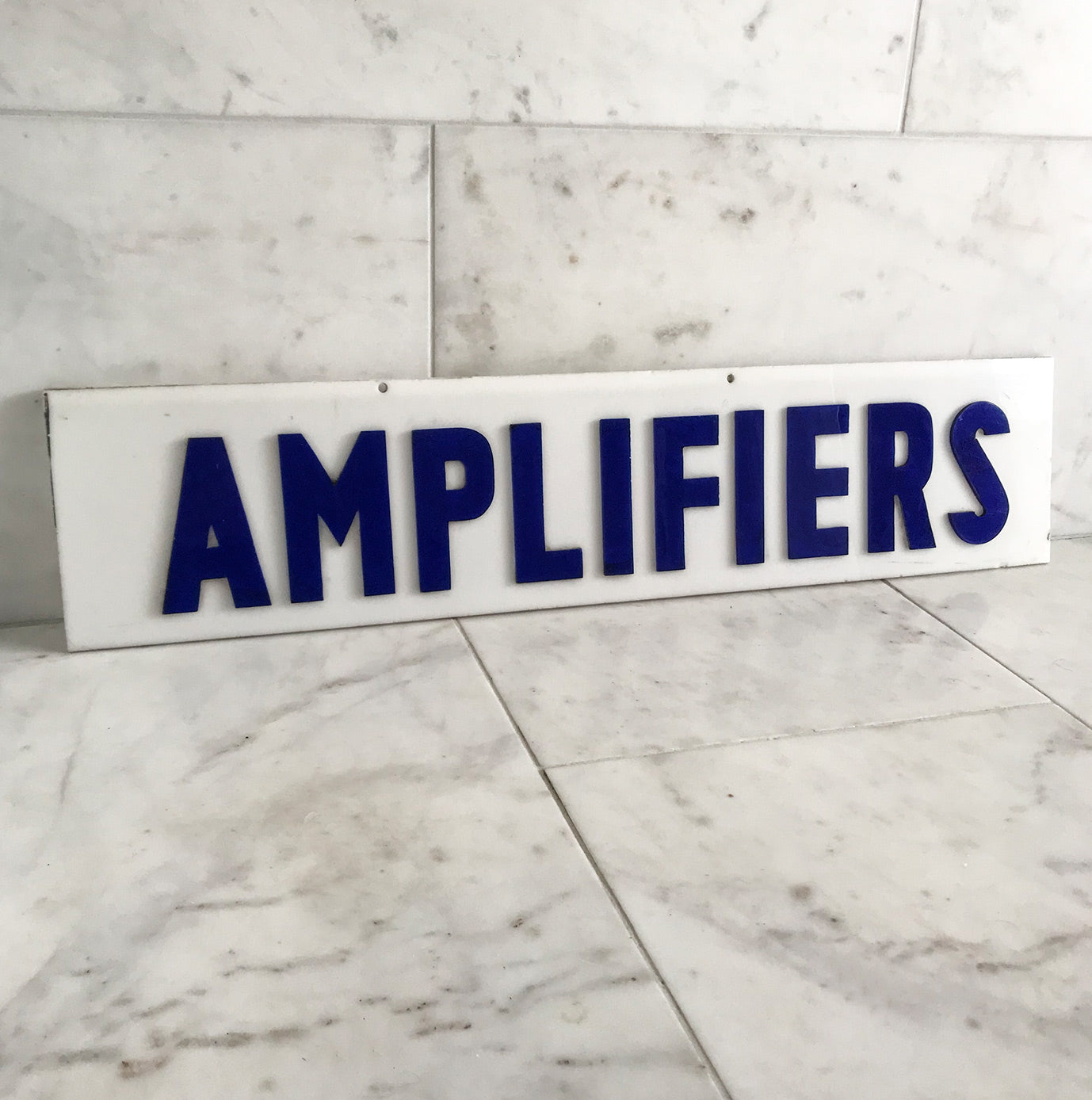 Vintage Shop 'Amplifiers' Sign