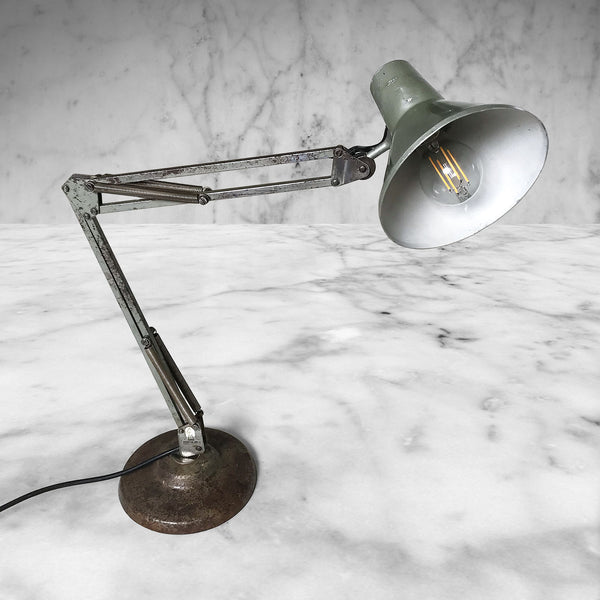 Vintage 1001 Lamps Anglepoise Lamp with great petrol grey colour finish combined with years of wear. Rewired,new plug & new, good-looking bulb. Great vintage condition, with original patina and the spring mechanisms still working well - SHOP NOW - www.intovintage.co.uk