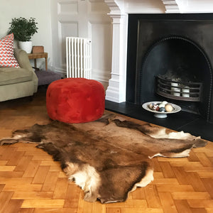 This sumptuous deer skin hide will add a touch of traditional luxury to any contemporary home. Its warm mixture of brown tones and characteristic markings will make a fabulously individual floor covering, couch drape or statement wall-piece - SHOP NOW - www.intovintage.co.uk
