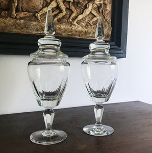 A beautiful pair of large antique cut glass chemist's apothecary jars. Each retain their original cut glass lids. In fantastic original condition - SHOP NOW - www.intovintage.co.uk
