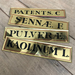 A good sized collection of 14 antique botanical apothecary mirrored drawer plates. Golden toned beveled mirrors catch the light beautifully, finished with black serif type and thin red border lines - SHOP NOW - www.intovintage.co.uk