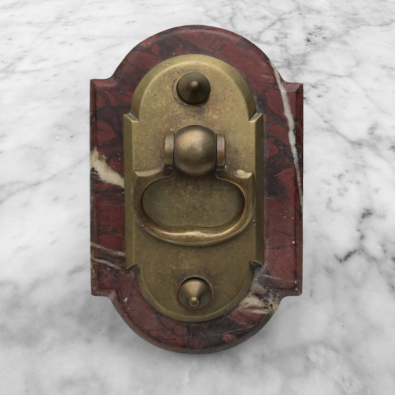 Nice and chunky French Door Bell Pull. The marble is a deep rusty red with creamy white and chocolate veins. That is topped with a brass pull handle that has a good smooth rocker action to it - BUY NOW - www.intovintage.co.uk