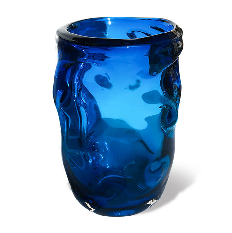 Whitefriars Royal Blue Glass Knobbly Vase, designed by William Wilson and Harry Dyer, pattern number 9608 - SHOP NOW - www.intovintage.co.uk