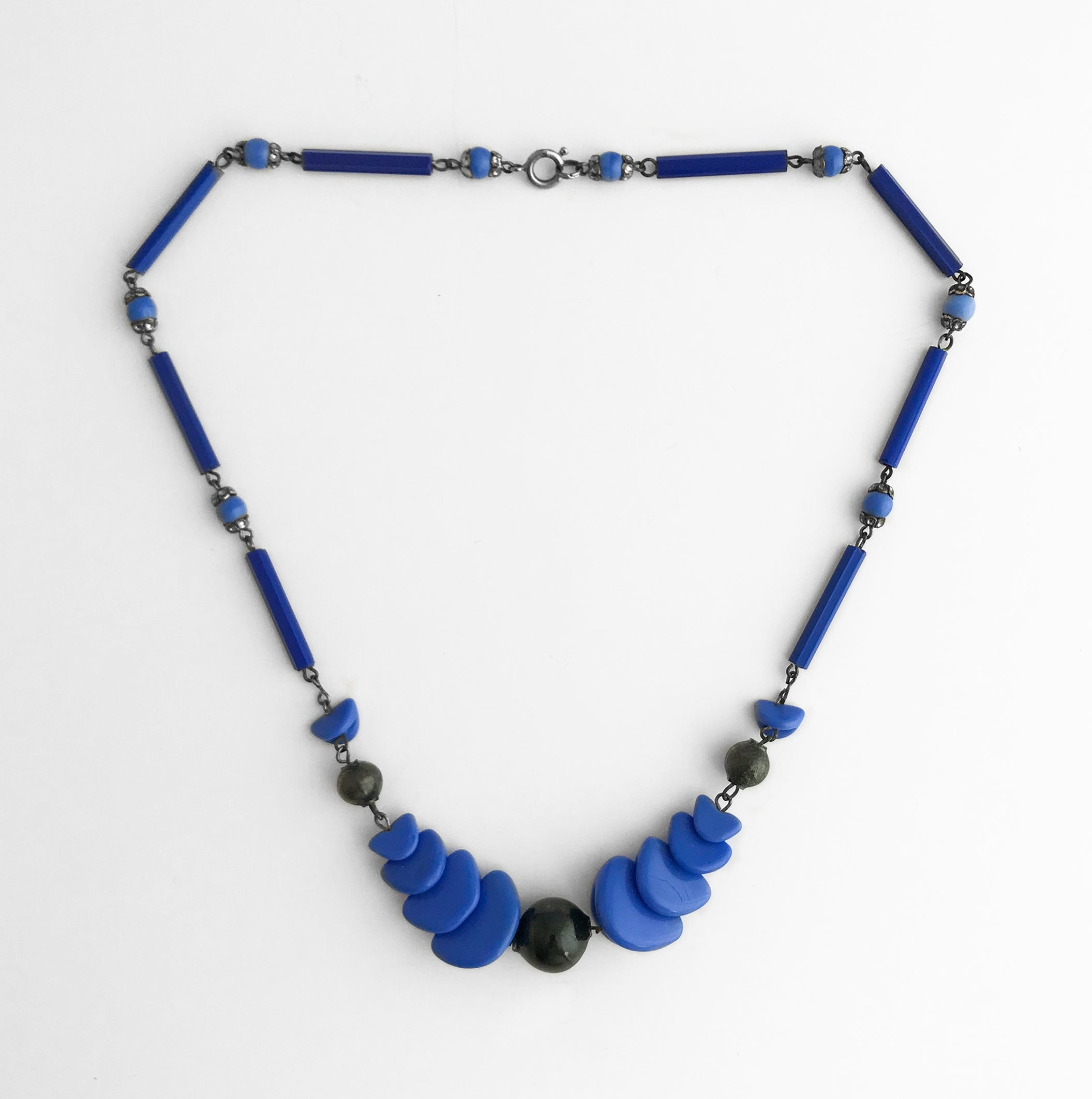 Vintage Blue and Black Geo-Metric Art Deco Necklace - SHOP NOW - www.intovintage.co.uk