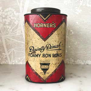 Vintage Horner's Dainty Dinah Foamy Bon Bons Shop Tin in good condition with fantastic graphics and great patina - SHOP NOW - www.intovintage.co.uk
