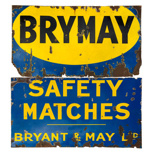 Huge Vintage Bryant & May Enamel Sign. Two sections that came from the side of a building on the A13 road in to the City of London.