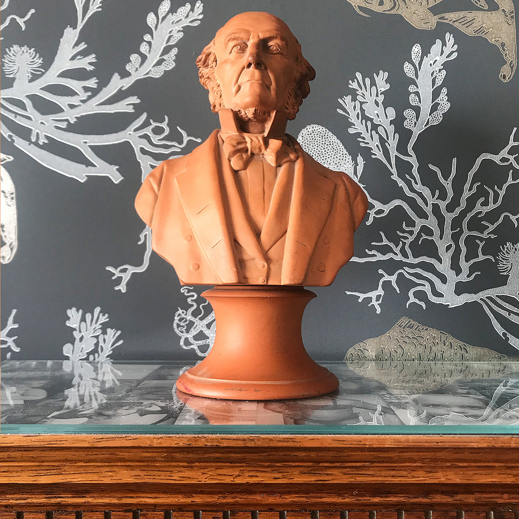 A impressive Terracotta Bust of the Right Honourable W.E Gladstone the British Prime Minister (1868), E.W Wyon maker's mark to the rear and dated 1882. There is a further mark to the underside. Quite incredible detail in the modelling - SHOP NOW - www.intovintage.co.uk