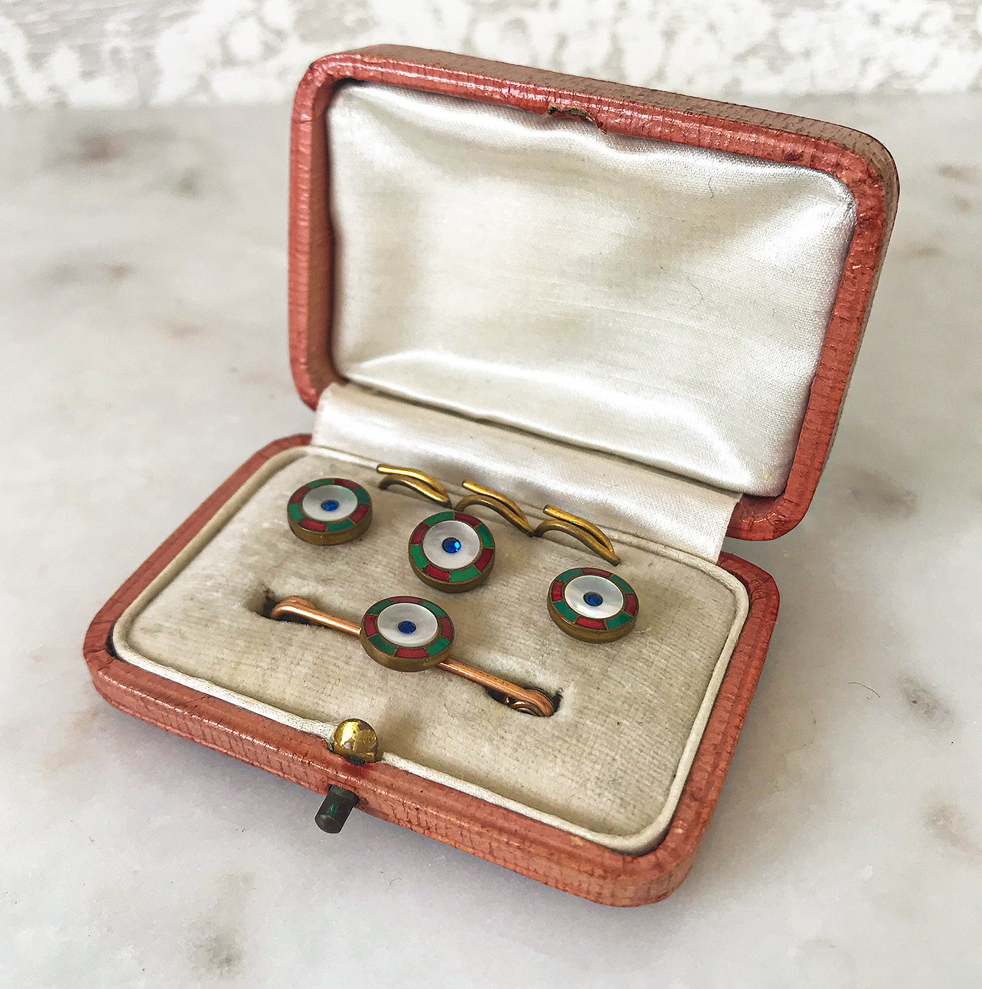 A smart matching set of 3 vintage gents dress buttons along with matching stock pin and 3 fastening loops, all in their original red presentation box - SHOP NOW - www.intovintage.co.uk