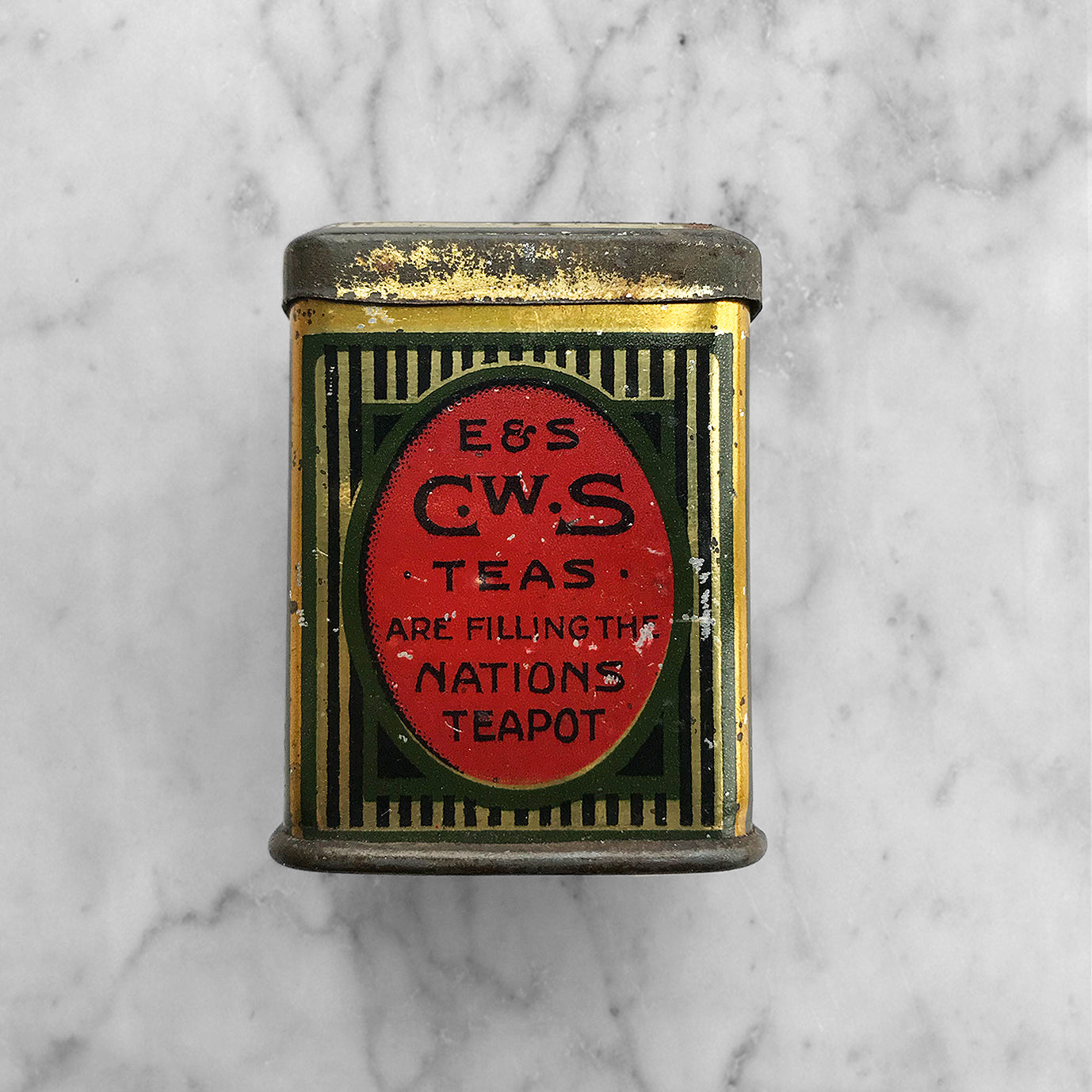 Charming little E&S CWS Tea Sample Tin. These little tins were produced in the early 20th century by the English & Scottish Joint Co-operative Wholesale Society of the United Kingdom to promote their fine teas - SHOP NOW - www.intovintage.co.uk