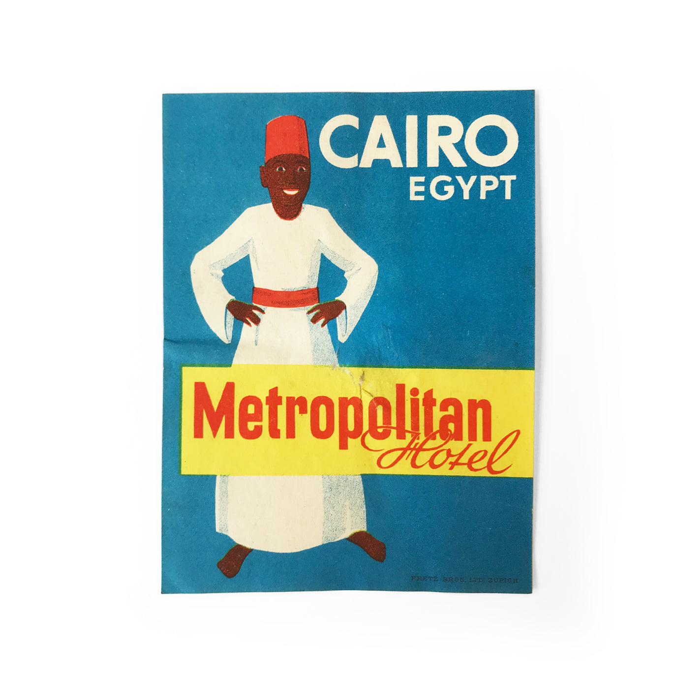 Vintage Cairo, Metropolitan Hotel luggage label. In great condition - SHOP NOW - www.intovintage.co.uk