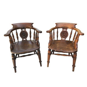 Pair of Elm Captain's Chairs
