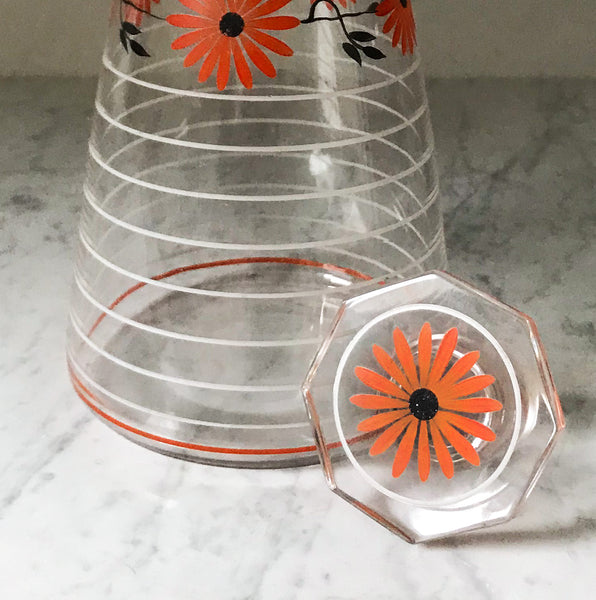 Pretty painted glass decanter, with flower and striped decoration - SHOP NOW - www.intovintage.co.uk
