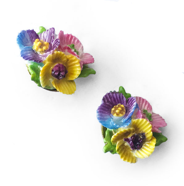 Vintage Bouquet of Flowers Ear Clips and Brooch Set.  Find these and other Vintage items for sale at Intovintage.co.uk.