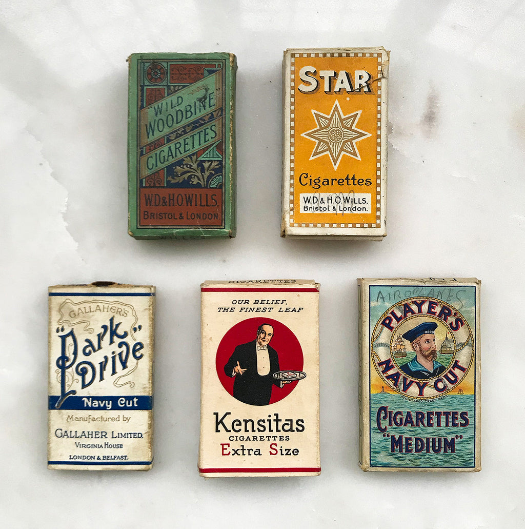 A snap shot of the early 20th century, these vintage cigarette packs are decorated with fantastic typography and imagery - SHOP NOW -  www.intovintage.co.uk