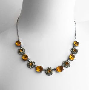 Vintage 1930's/1940's Citrine Glass Daisy Necklace - SHOP NOW - www.intovintage.co.uk